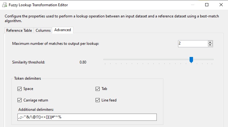 Advanced configuration for Fuzzy Lookup in SSIS.