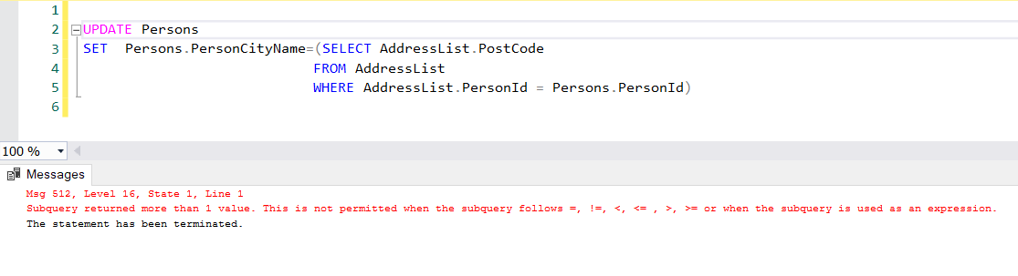 An error of the subquery in the update statement.
