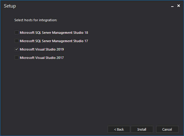 Check Visual Studio and SQL Server Management Studio versions into which ApexSQL Diff will be integrated