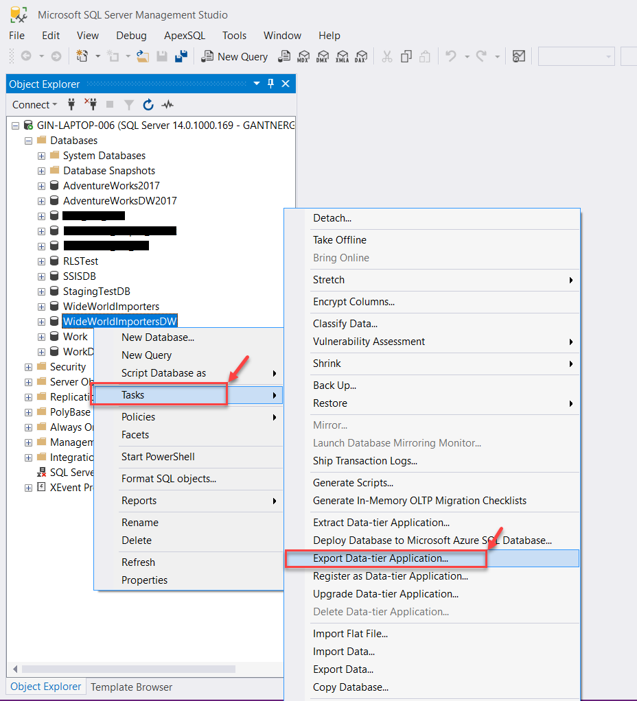 Export Data Tier Applications in SQL Server Management Studio