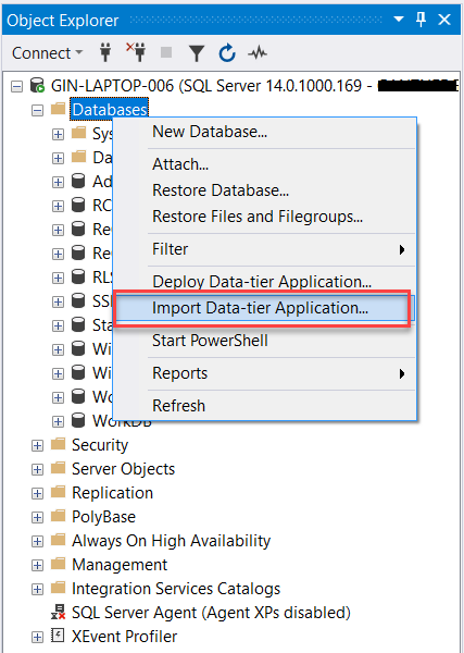 Import Data Tier Applications in SQL Server