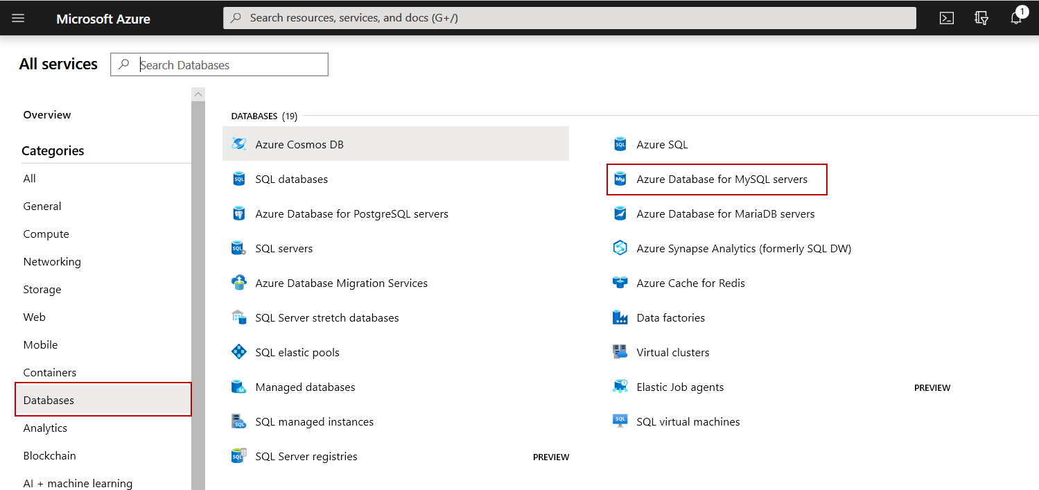 List of all database services provided by Azure