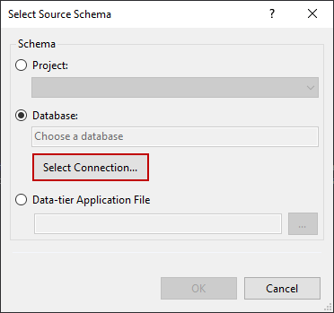 Select Connection in the Select Source Schema dialog
