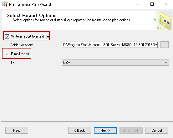 Select Report options