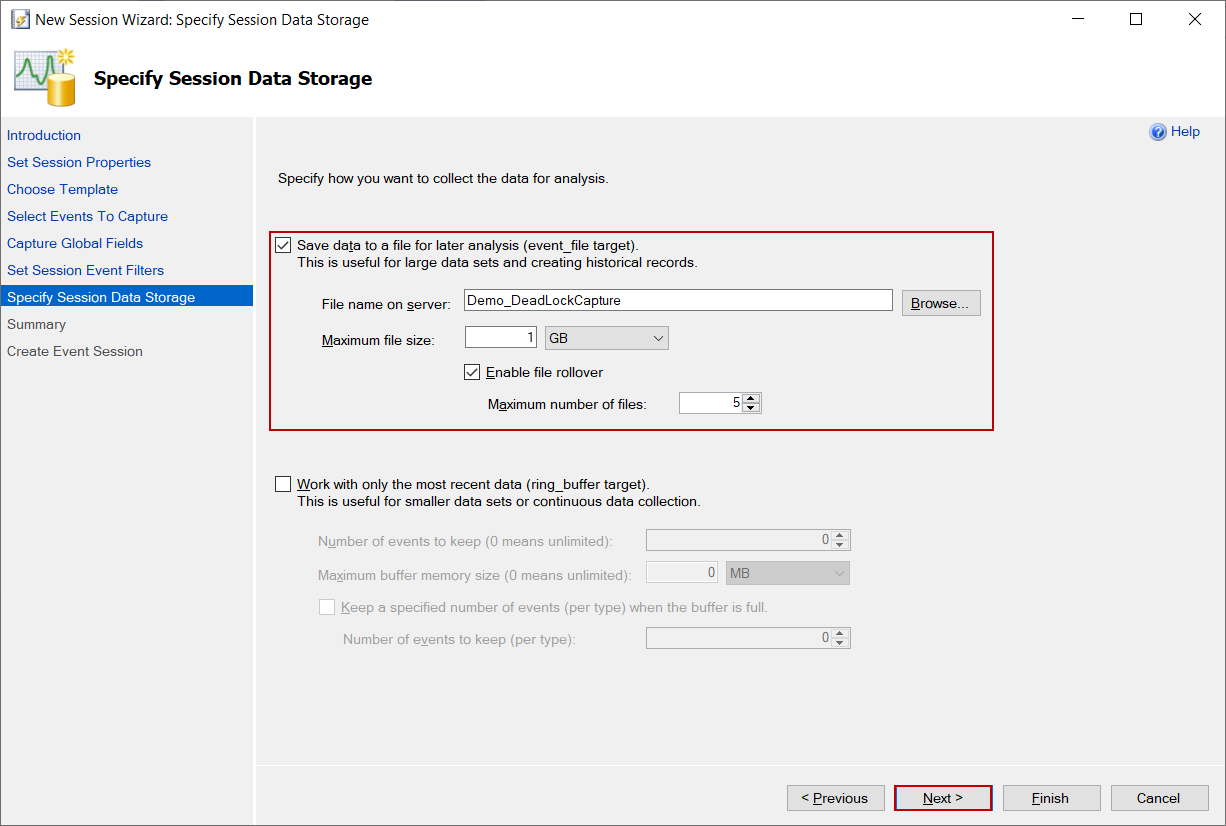 Specify Session Data Storage in the extended event