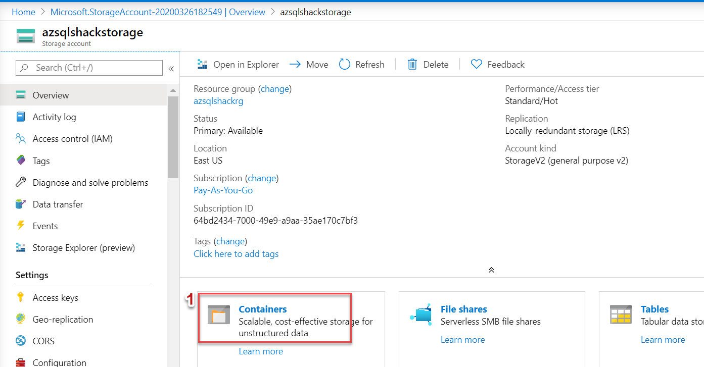 Uploading a block blob in Azure Blob Storage container 1/7.