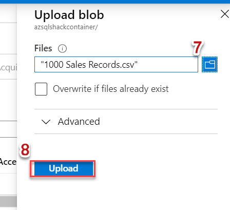 Uploading a block blob in Blob Storage container 6/7.