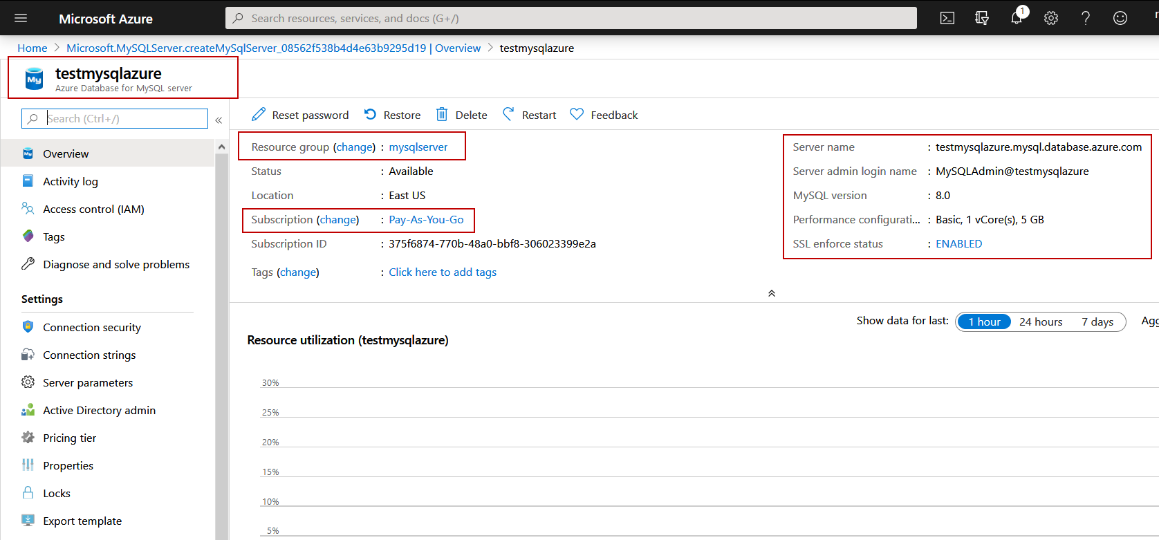 View Azure database for MySQL Server configuration