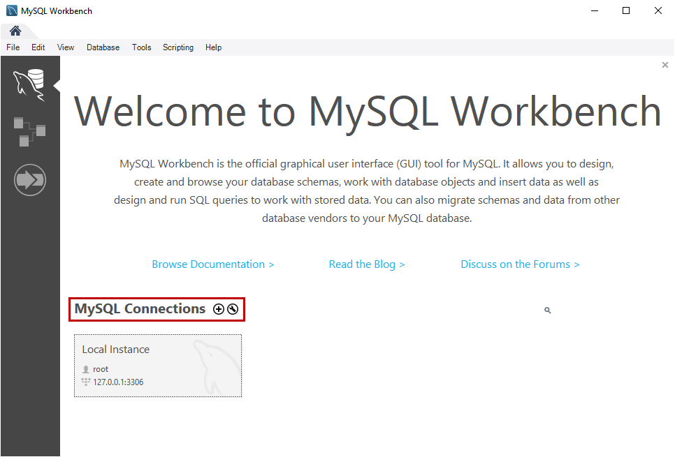 Welcome screen MySQL Workbench