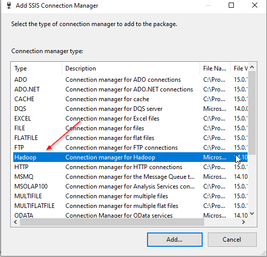 Adding a SSIS Hadoop connection manager