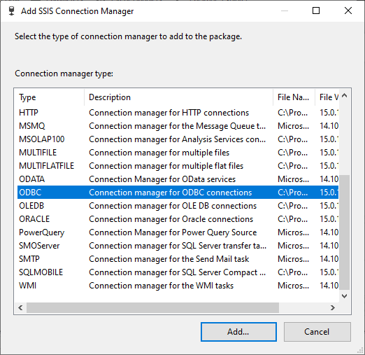 Adding ODBC connection manager