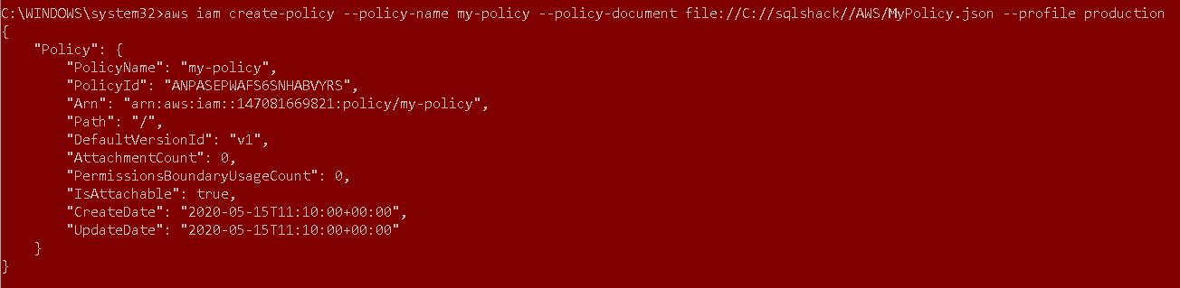 AWS CLI para política de verificação de um usuário