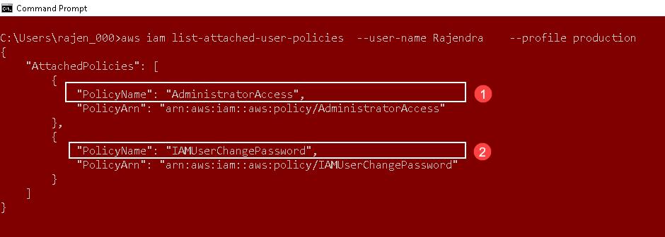 CLI da AWS para listar a política de anexação da AWS