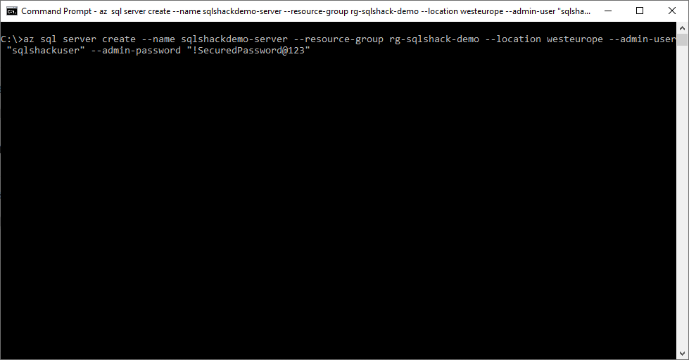 Azure CLI Command for SQL Server Instance