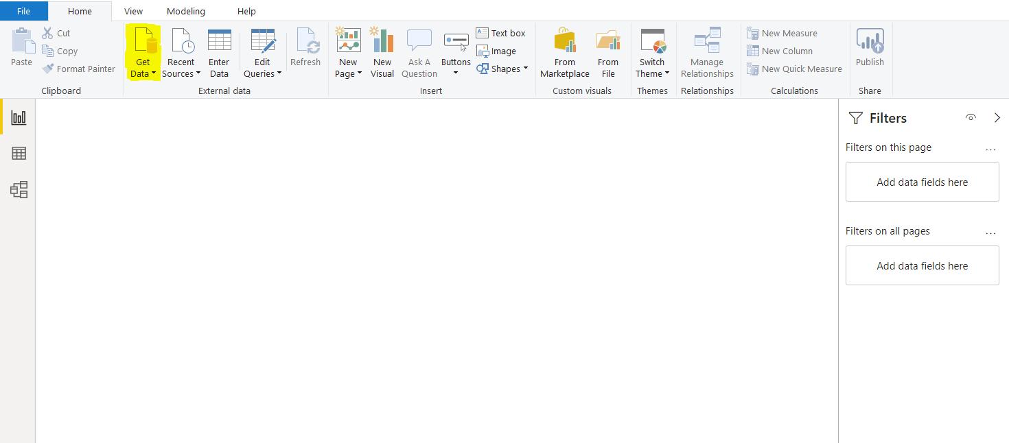 Blank Power BI user interface