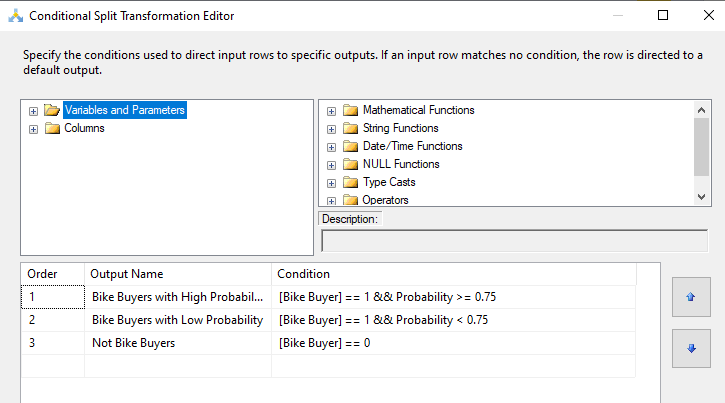 Conditional Split Transformation Editor