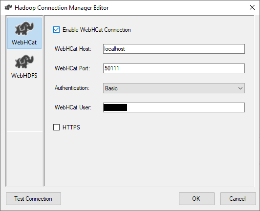 Configuring a WebHCat connection to be used by Hadoop components