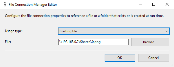 Configuring the file connection manager