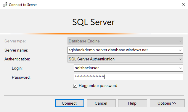 Connecting to SQL Database using SSMS