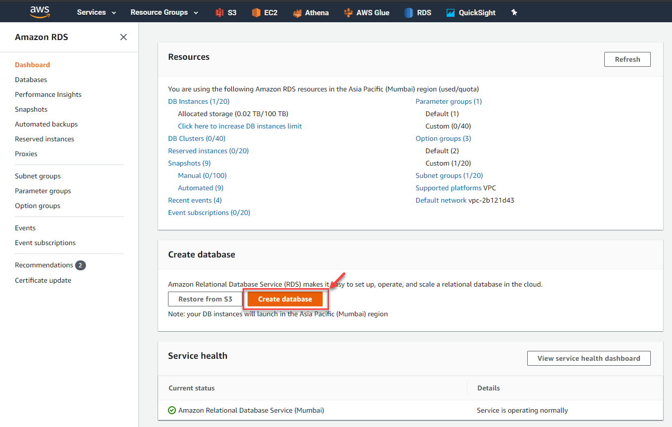 Create Database Button in AWS RDS