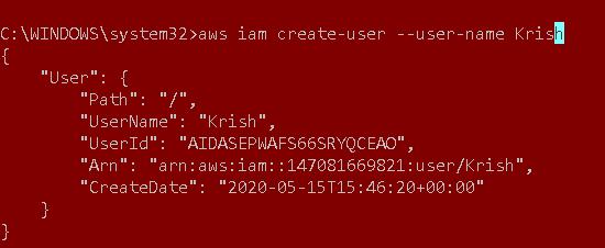 Criar usuário do IAM usando a CLI da AWS