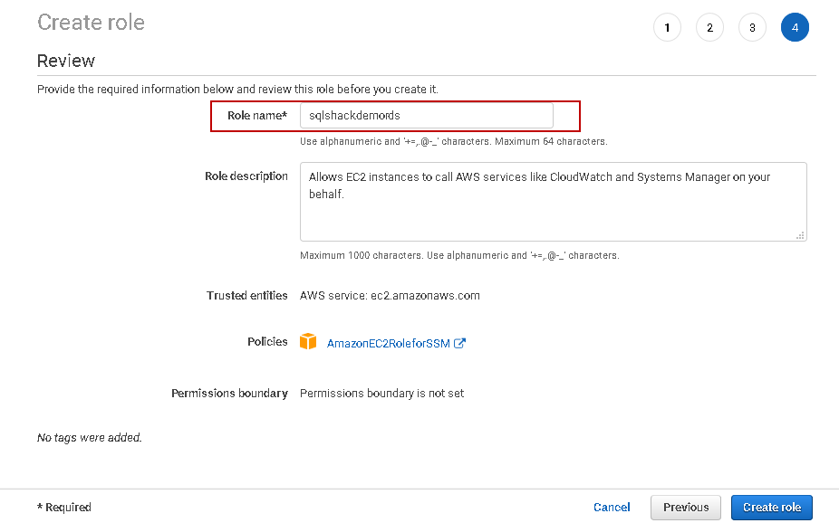 Create Role for AWS RDS SQL Server