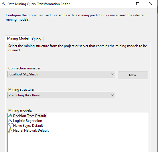 Data Mining Query Transformation Editor