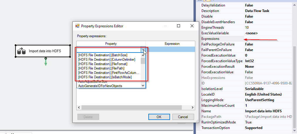 HDFS file destination expressions