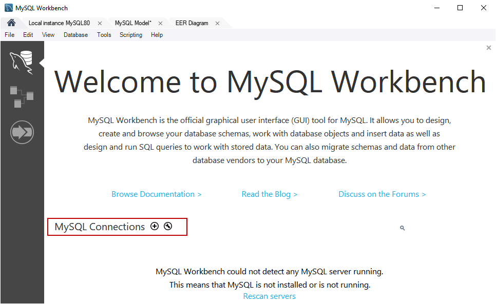 MySQL create table example: Welcome screen