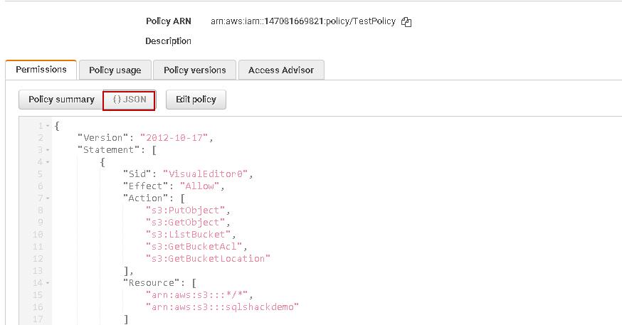 Anote o formato JSON de uma política