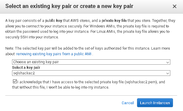 select an existing key pair or create a new key pair