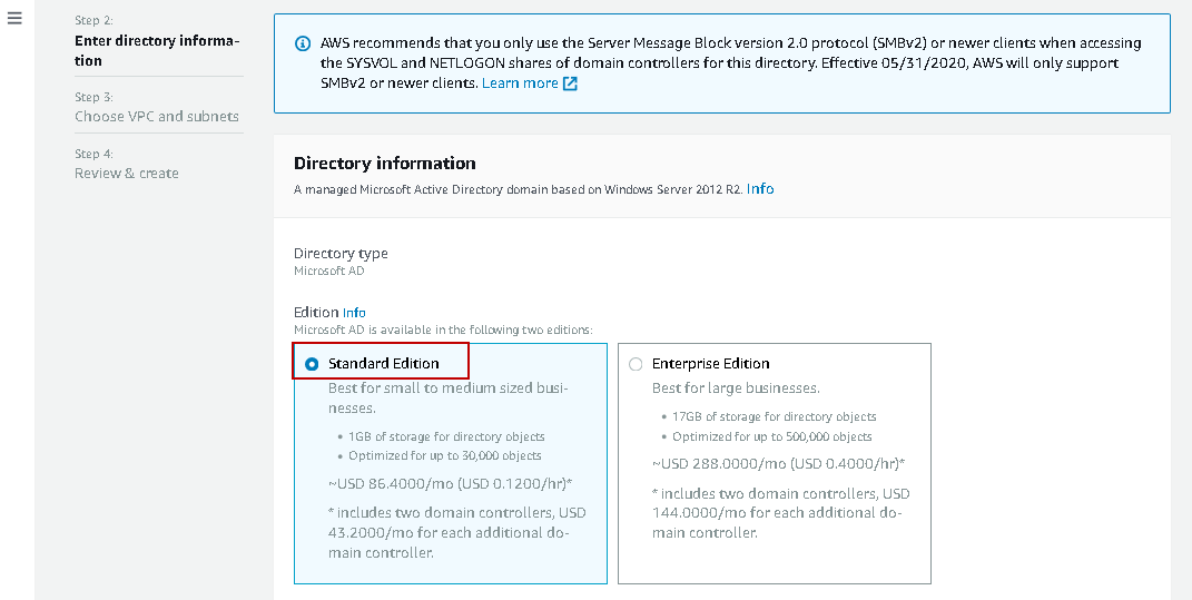 Select the standard or enterprise edition for AWS RDS SQL Server