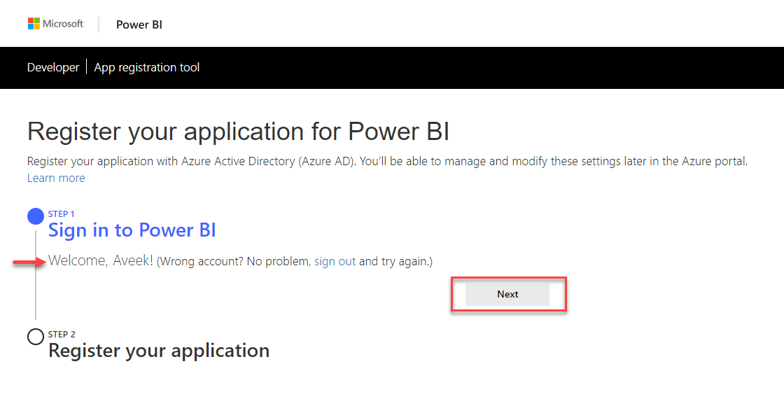 Signed In with Power BI Credentials