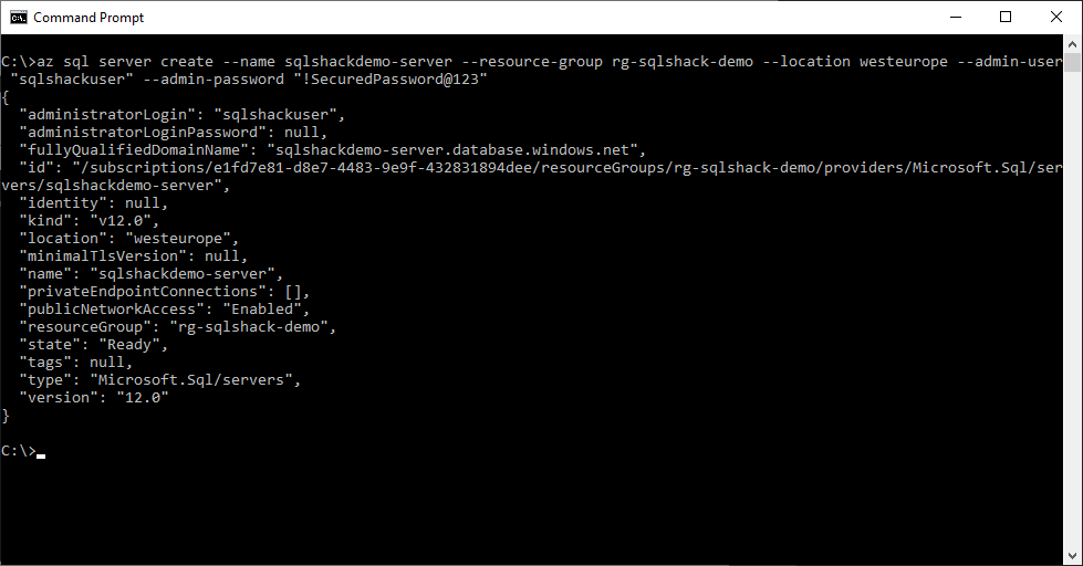 SQL Server Instance created Using Azure CLI