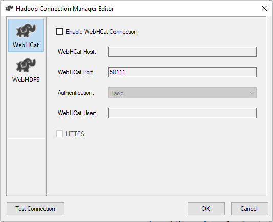 The SSIS Hadoop Connection Manager editor