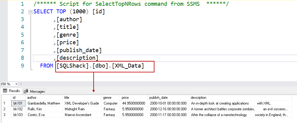 View XML data in SQL tables