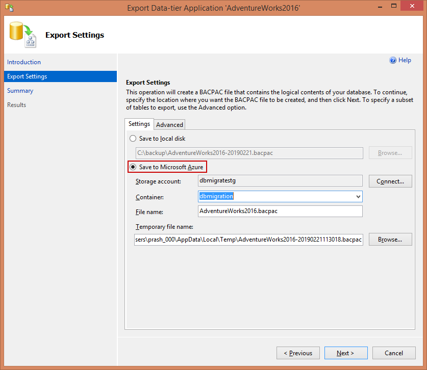 Access Azure SQL Database Blog storage - Export data for tier application - Exprt settings