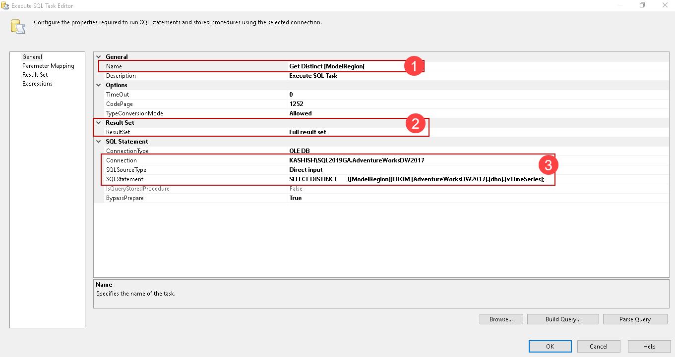 Adicionar uma tarefa de execução SQL