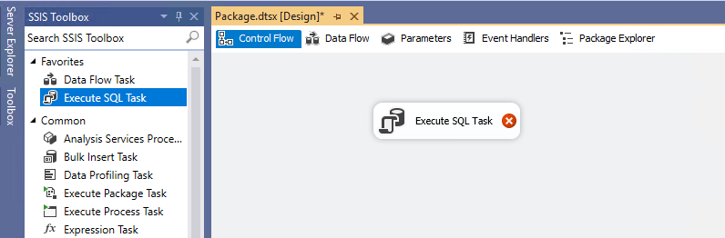 Add an Execute SQL Task