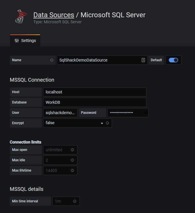 Adicionando detalhes da fonte de dados ao SQL Server