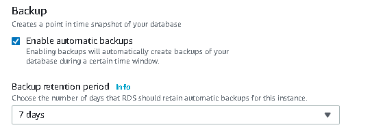 Automatic back and backup retention period