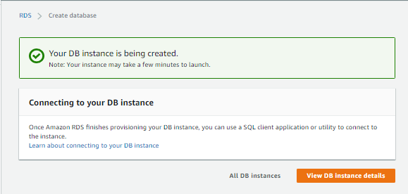 AWS RDS Instance Creation Completed Status Pane