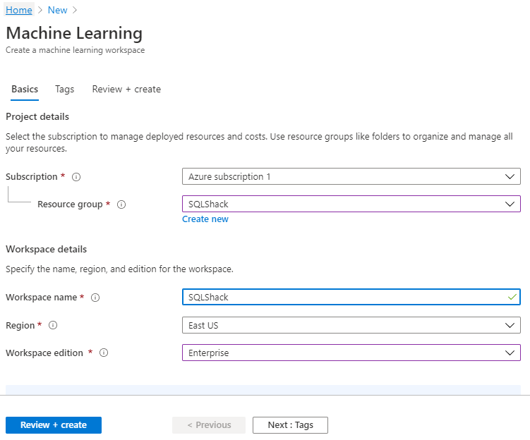 Basic details for Azure Machine Learning servuice.