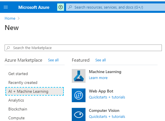 Chossing the Machine Learning resource from the Azure Portal.