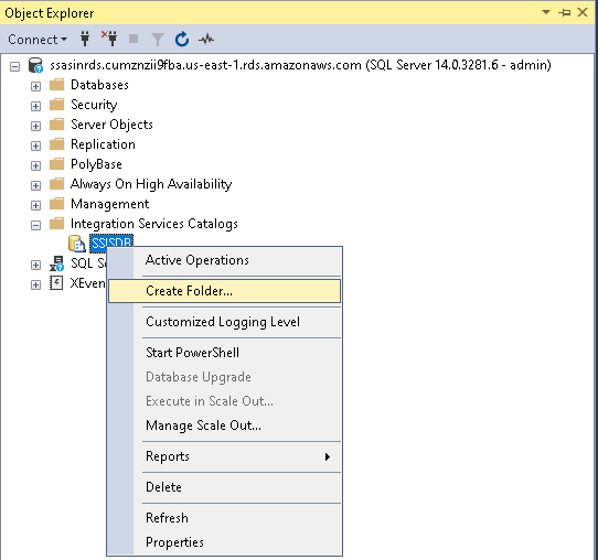Create a folder in SSISDB catalog