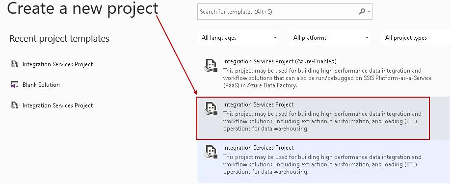 Crie um novo projeto de serviço de integração