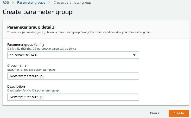 Create parameter group