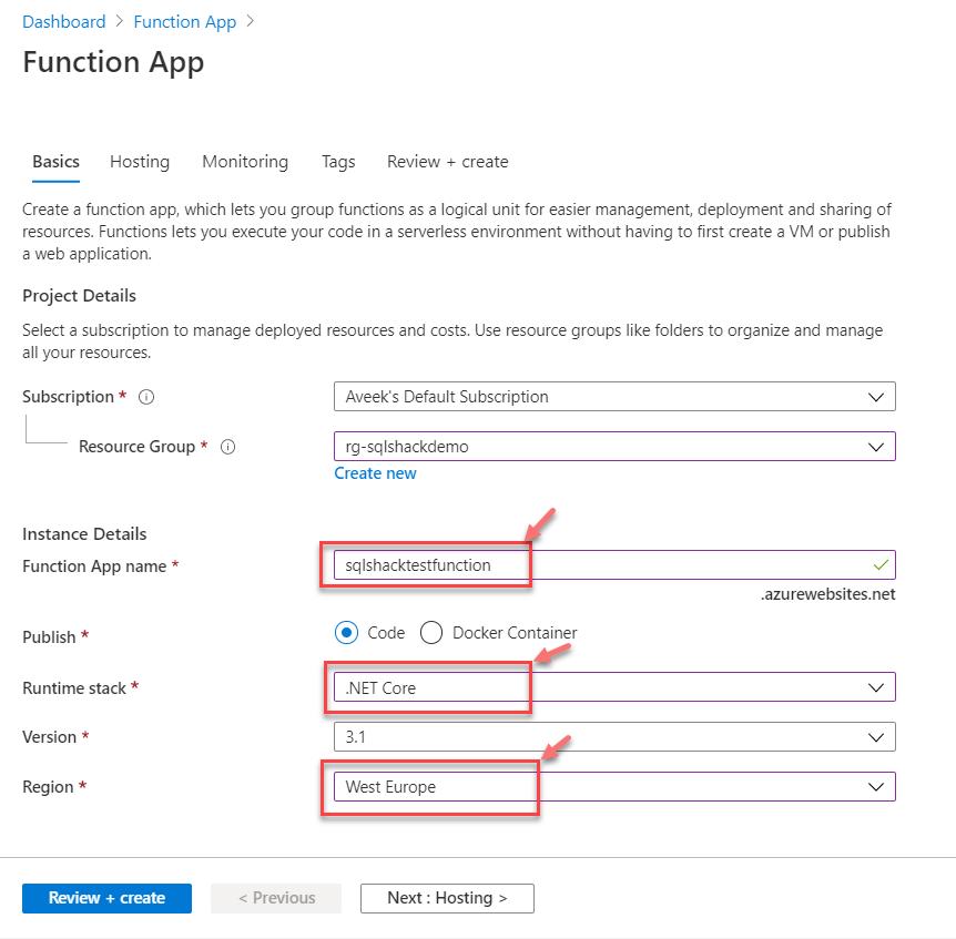 Criando a função de aplicativo