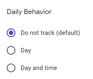 Example of using optional features where the default doesn't track any behavioral data.