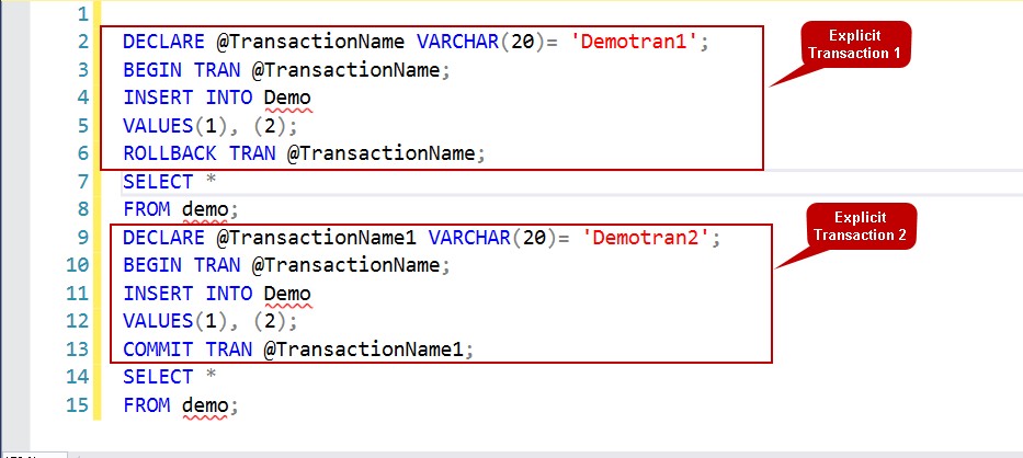 Transação explícita do SQL Server